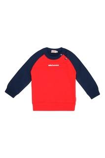 Красный свитшот с синими рукавами Miki House