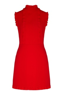 Красное платье мини с оборками Miu Miu
