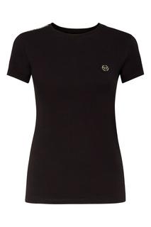 Черная футболка с декором на рукавах Philipp Plein