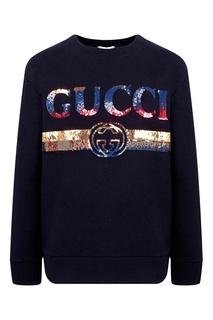 Черный трикотажный свитшот с пайетками Gucci Kids