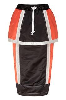 Бело-черно-красная спортивная юбка миди Daniil Antsiferov