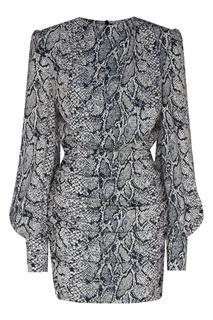 Серое мини-платье со змеиным принтом Maison Bohemique