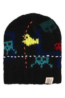 Вязаная шапка с ярким рисунком Bonpoint