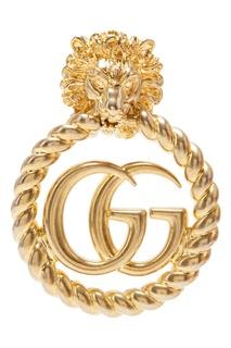 Моноклипса с головой льва и монограммами GG Gucci