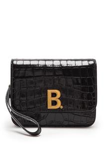 Сумка из черной фактурной кожи с монограммой B Balenciaga