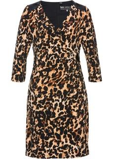 Платья с длинным рукавом Платье трикотажное с принтом Bonprix