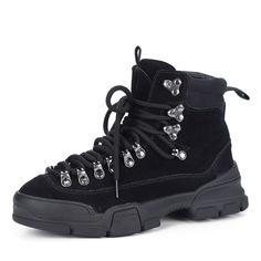 Ботинки из велюра в черном цвете Respect