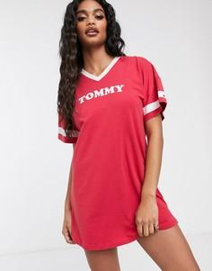 Красная хлопковая ночная сорочка с короткими рукавами Tommy Hilfiger