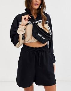 Черная бархатная сумка-кошелек на пояс adidas Originals