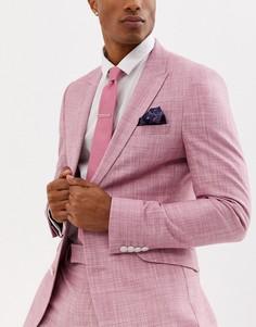Розовый галстук, платок для нагрудного кармана и булавка Moss London