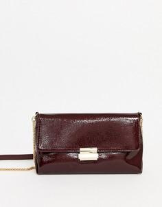 Бордовая лакированная сумка через плечо Pimkie