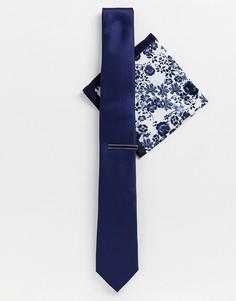 Темно-синий галстук, платок для нагрудного кармана и булавка Moss London