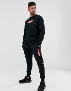 """Черные джоггеры со вставкой """"Just Do It"""" Nike"""