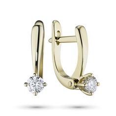Серьги из желтого золота с бриллиантом э03с021639 ЭПЛ Якутские Бриллианты