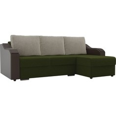 Угловой диван Лига Диванов Монако микровельвет зеленый подлокотники экокожа коричневые подушки микровельвет бежевый правый угол