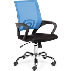 Кресло офисное NORDEN Спринг blue-black база хром/синяя сетка/черная ткань