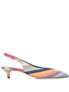 Paul Smith полосатые туфли-лодочки с ремешком на пятке
