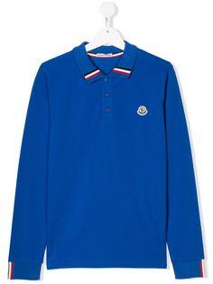 Moncler Kids рубашка-поло с вышитым логотипом
