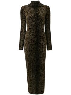 Alexander Wang платье с высоким воротником и леопардовым принтом