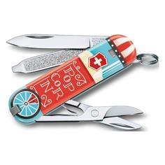 Складной нож VICTORINOX Classic LE2019 Let it Pop, 7 функций, 58мм, голубой / рисунок