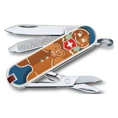 Складной нож VICTORINOX Classic LE2019 Gingerbread Love, 7 функций, 58мм, синий / рисунок
