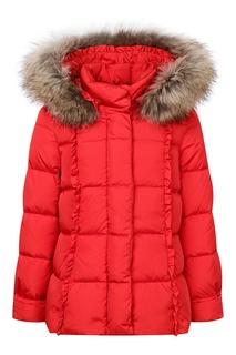 Красная куртка с меховым капюшоном Il Gufo