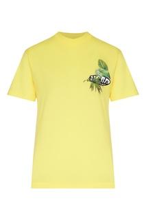 Желтая футболка с двусторонним принтом Off White