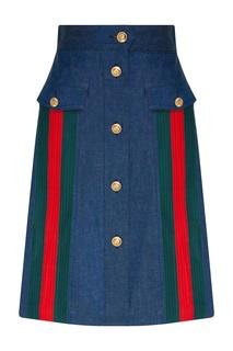 Джинсовая юбка с лентой Web Gucci