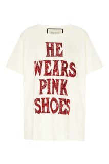 Белая футболка с надписью из пайеток Gucci