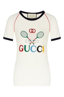Футболка с изображением теннисных ракеток Gucci