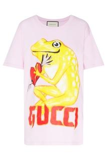 Сиреневая футболка с принтом Gucci