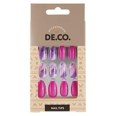 Набор накладных ногтей DE.CO. MARBLE violet 24 шт+ клеевые стикеры 24 шт Deco