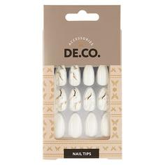 Набор накладных ногтей DE.CO. MARBLE white 24 шт+ клеевые стикеры 24 шт Deco