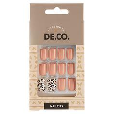Набор накладных ногтей DE.CO. FRENCH leo 24 шт+ клеевые стикеры 24 шт Deco