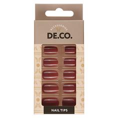 Набор накладных ногтей DE.CO. ESSENTIAL maroon mood 24 шт+ клеевые стикеры 24 шт Deco