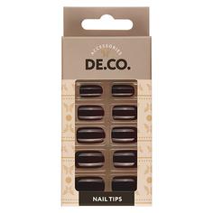 Набор накладных ногтей DE.CO. ESSENTIAL dark choco 24 шт+ клеевые стикеры 24 шт Deco