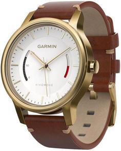 Спортивные часы Garmin Vivomove Premium со стальным корпусом и кожаным ремешком (золотистый)