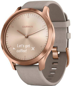 Умные часы Garmin Vivomove HR Premium 127-204mm с бежевым ремешком (розовое золото)