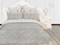Комплект постельного белья KAZANOVA Оффида Евро (белый, серый)