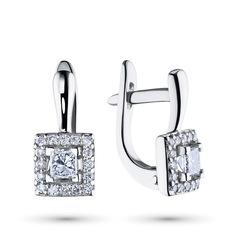 Серьги из белого золота с бриллиантами э09с041955 ЭПЛ Якутские Бриллианты