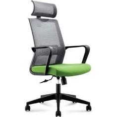 Кресло офисное NORDEN Интер база нейлон/черный пластик/серая сетка/зеленая ткань
