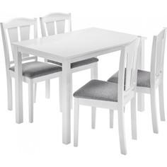 Обеденная группа Woodville Mali (стол и 4 стула) white/grey