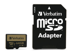 Карта памяти 64Gb - Verbatim Pro+ - Micro Secure Digital XC Class 10 44034 с переходником под SD