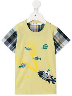 Familiar футболка с рукавами в клетку