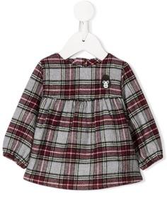 Douuod Kids клетчатая блузка с вышивкой