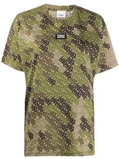 Burberry футболка с камуфляжным принтом и монограммой