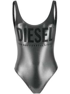 Diesel купальник с эффектом металлик и логотипом