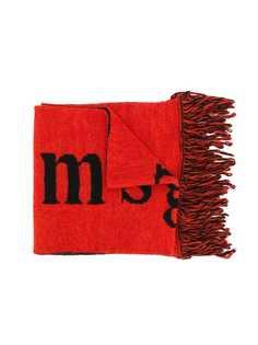 Msgm Kids шарф с логотипом и бахромой