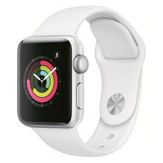 Смарт-часы APPLE Watch Series 3 38мм, серебристый / белый [mtey2/a]