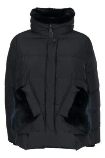 Черная куртка с коротким мехом Diego M